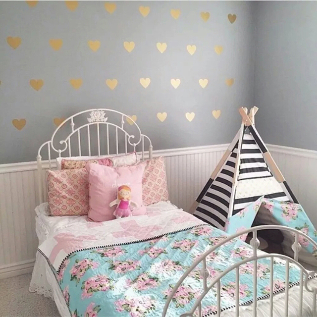 baby nursery cartoon little heart wall sticker for kids room gold