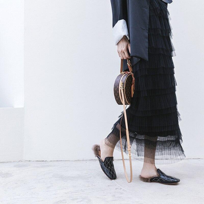 Chaussures Automne Diapositives 2018 Semi Nouveau De Venir Rivets Cuir Malayeurs Femelle Fourrure En Plat Carré Pantoufle Stylesowner Lapin Bout Tête Noir F7qU54wUd