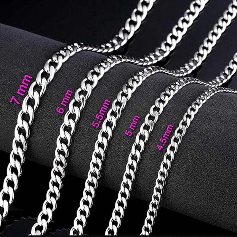 3 5 6mm Wide Silver Filled Solid Necklace Curb Chains Link Men Choker Stainless Steel Chain Male Female Fashion 2019 Jewelry