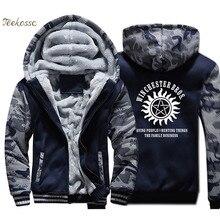 Supernatural Winchester Bros Hoodie Men Casual Print Hooded Sweatshirt Coat 2018 Winter Thick Fleece Warm Camouflage Jacket Mens
