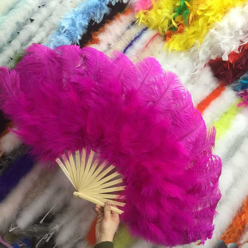 15 bones high quality oversized Rose ostrich feather fan dancing from Halloween decoration jewelery