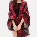 Mujeres Red Faux mantón de la cachemira 2016 doble cara a cuadros bufanda manta nueva marca de invierno bufanda de la celebridad para mujer moda otoño del cabo