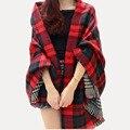 Mulheres Red Faux Cashmere xale 2016 duplo cobertor xadrez com cara cachecol novo inverno marca lenço de celebridades Womens moda outono capa