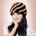 Quality imported mink casual beanie hat / sleeve head cap mink pineapple pattern knit hat