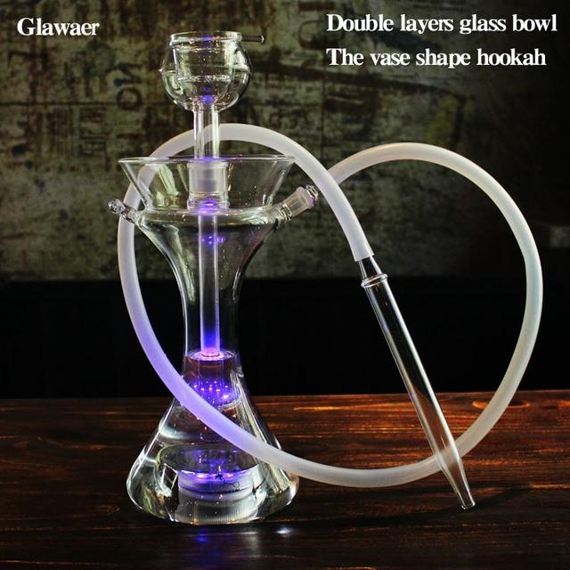 Glawaer 新グレース花瓶スタイルガラス水ギセル shishas 大きな煙ダブル層ガラスボウルクリア小さな chicha narguile