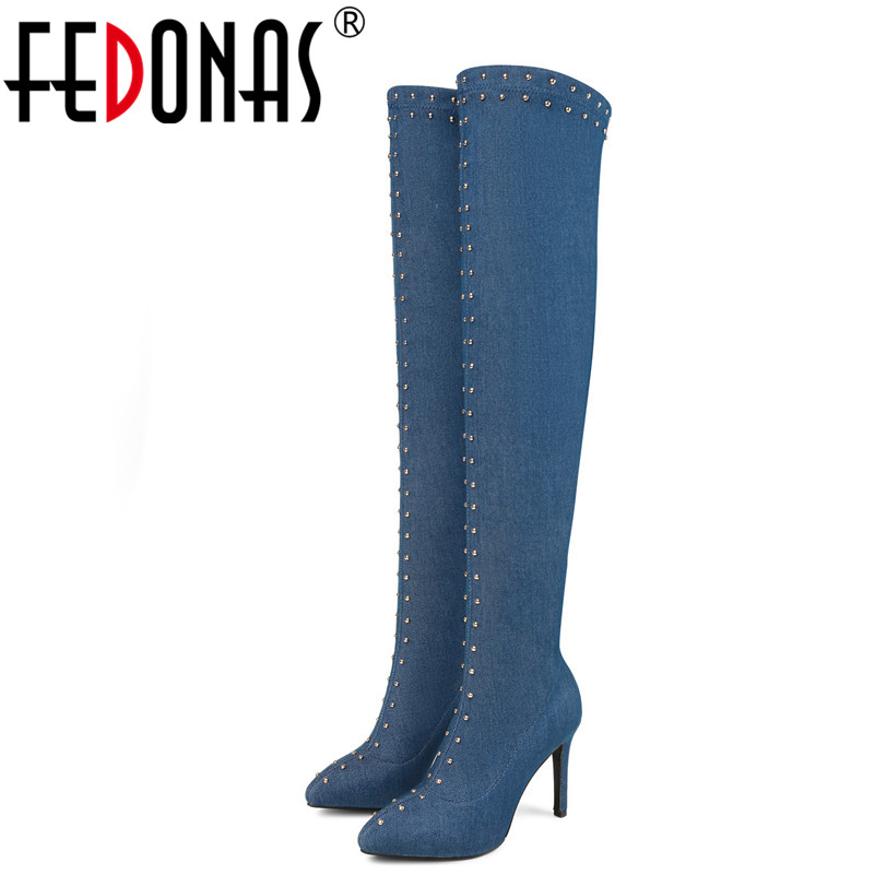 FEDONAS Fashion Women Over The Knee High Boots High Heels Rivets Party Night Club Dancing Shoes Women Tihgt High Warm Boots