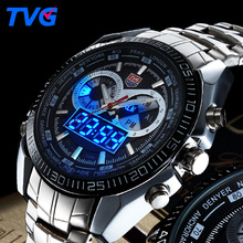 TVG Fashion Sport Men Watch luxury brand analog digital LED dual display stainless steel strap waterproof military quartz watch