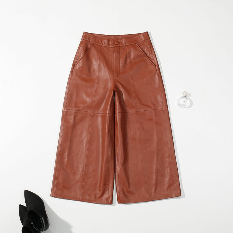 2018 Pantaloni Delle Donne del Brown del Cuoio Genuino di Alta Vita Pantaloni Larghi Coreano Stile Classico Delle Signore Comode Pantaloni Streetwear di Moda