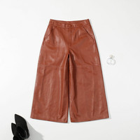2018 New Spring Brown Genuine Leather Wide Leg Pants For Women Ladies Ol Plus Size Loose