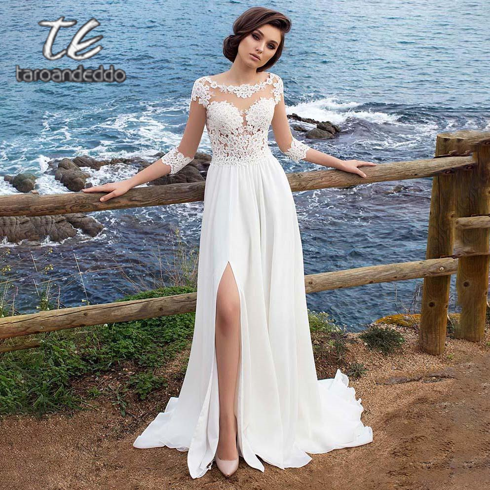Scoop A Line Wedding Dresses Half Sleeves Illusion Back Front Slit Lace Applique Chiffon Sweep Train