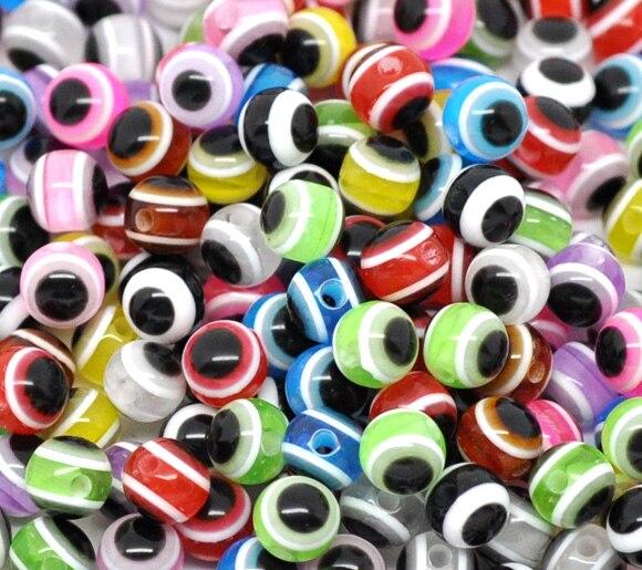 DoreenBeads Новинка 2017 года Jewelry бусины-разделители из смолы мяч Смешанные глаз узор около мм 6 мм (2/8 «) Диаметр, отверстие: мм Приблизительно 1,3 25 шт.