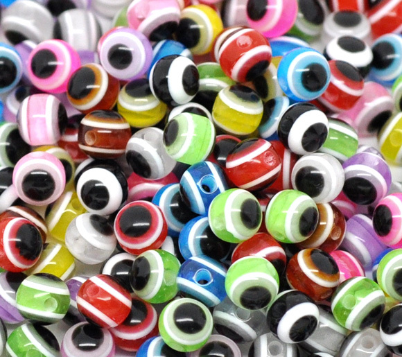 DoreenBeads 2017 new Jewelry Resin Spacer Beads Ball Mixed Eye Pattern About 6mm
