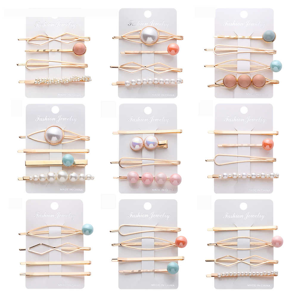 4 pcs/set Fashion Women Metal Hairpins Korea Imitation Pearl Beads Hair Clips Irregular Geometric Hair Styling Accessories