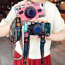3D Retro Kamera kordon Huawei P20 Lite Nova 3e Moda Kavrama Standı Tutucu Silikon telefon kılıfı Için Huawei P9 p10 P20 Pro