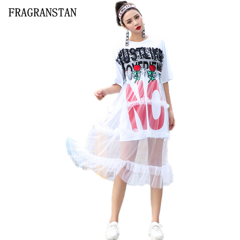 Spring Summer Women Fashion Loose Cotton Ruffles Mesh Patchwork Dress Female Casual Letter Rose Printed Perspective