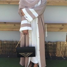 Muslim Striped Abaya Dress Hijab Tunic Cardigan Long Robe Gowns Kimono Jubah Ramadan ArabTurkish Thobe Islamic Prayer Clothing