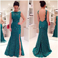 Emerald Teal Bridesmaid Dresses 2017 Green Mermaid Long High Neck Side Slit Lace Backless Floor Length Long Brides Maid Dress