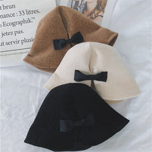 fc09a08a321 2018 Autumn Winter Women Bucket Hat 6 Colors Caps Chic Sweet Bowknot  Fisherman Panama High Quality