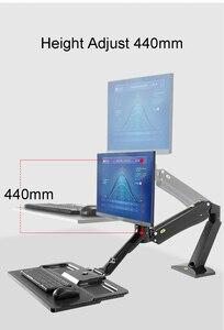 Image 4 - NB FC40 Ergonomische Höhe Einzustellen Computer Sitzen Stehen Workstation 24 35 zoll Monitor Halterung Halterung mit Tastatur Platte Schreibtisch stehen