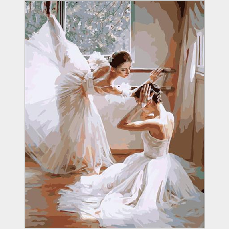 modern oil painting picture of Ballet 40X50cm hand paint by numbers on canvas with frame home decor cheap modern canvas art G399