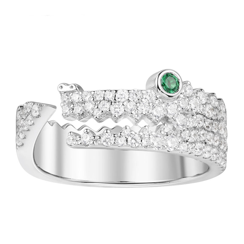 SKA Brand Rings For Women 925 Sterling Silver Ring Inlaid Zircon Green Eyes Crocodile Monaco Jewelry Women's Rings A18492KGX