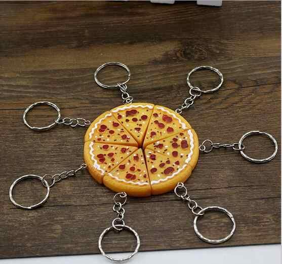 50 Cái bánh pizza Keychain Dễ Thương Anime Cartoon Toy Key Ring children đảng quà tặng WW777