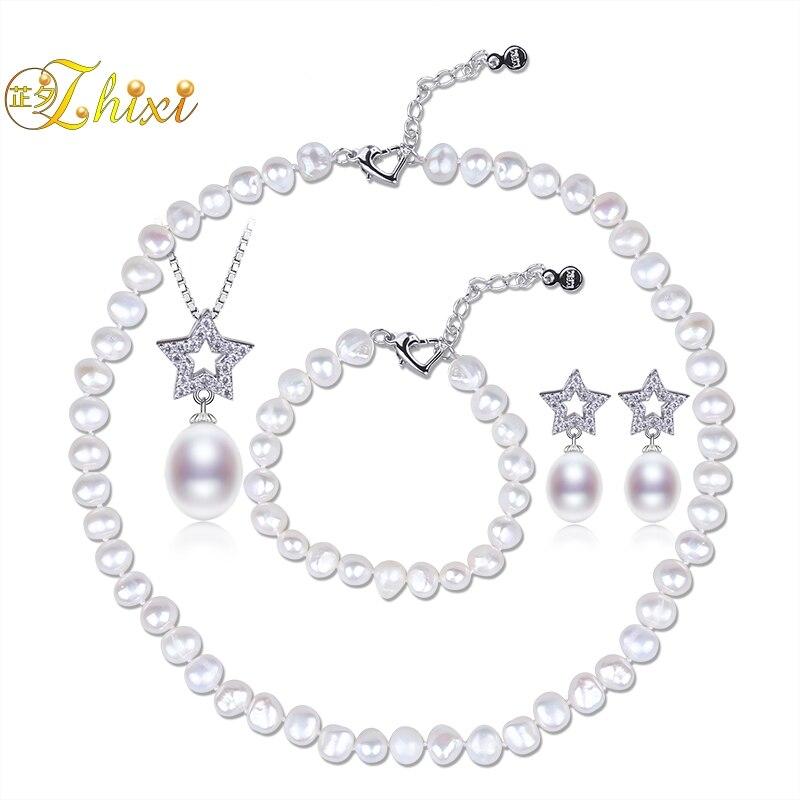 ee66a38c2fc33 US $37.98 |ZHIXI Wedding Pearl Jewelry Set Fine Jewelry Real Freshwater  Pearl Necklace Bracelet Pendant Earrings 8 9MM Gift For Women T248 -in  Jewelry ...