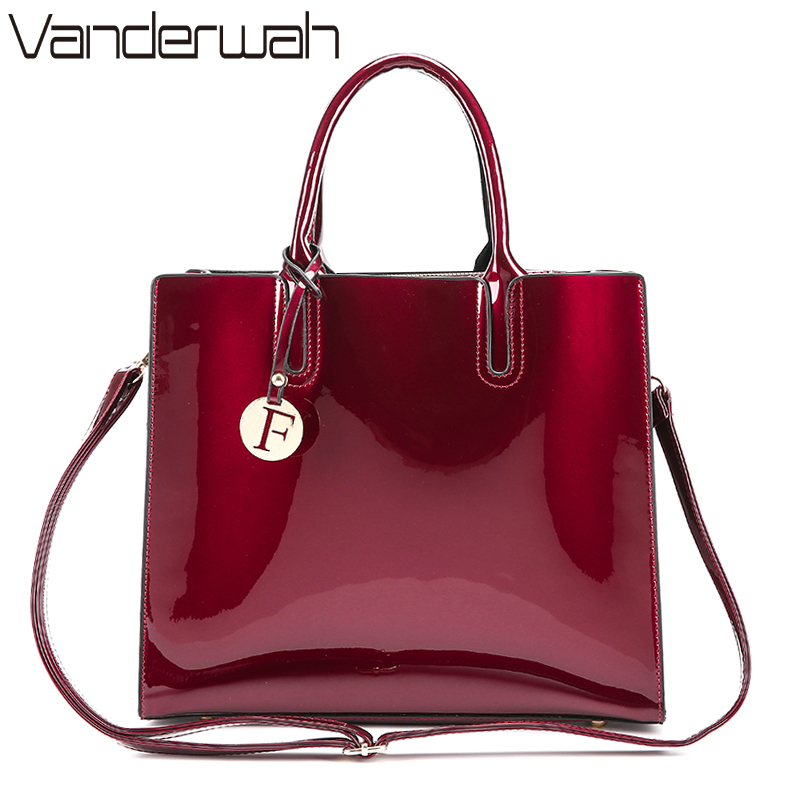 VANDERWAH Brand Glossy Big Tote women bags High Quality Women's PU Leather Handbags Letter Shoulder Crossbody Bag Messenger Bags women shoulder bags leather handbags shell crossbody bag brand design small single messenger bolsa tote sweet fashion style