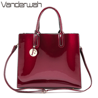 VANDERWAH Brand Glossy Big Tote Women Bags High Quality Women S PU Leather Handbags Letter Shoulder