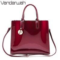 VANDERWAH Brand Glossy Big Tote Women Bags High Quality Women S PU Leather Handbags Letter Shoulder