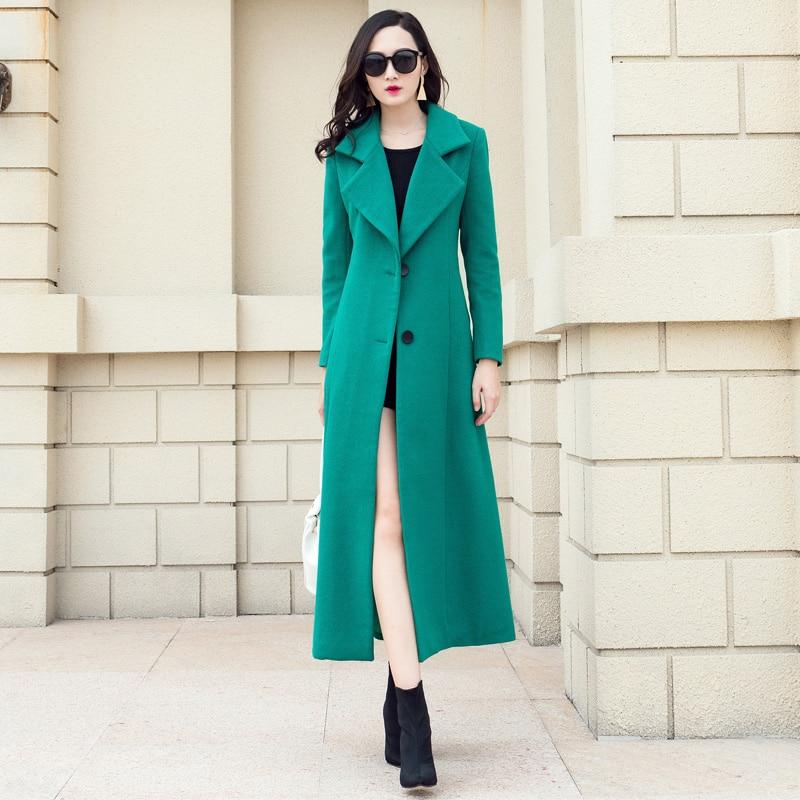 Femmes Pardessus La Femme Longues Hiver Solide Taille Vert Outwear De Green Couleur Élégante Plus Ultra Nouveau Mode 2018 Laine Automne Manteaux 5vU6dwnq