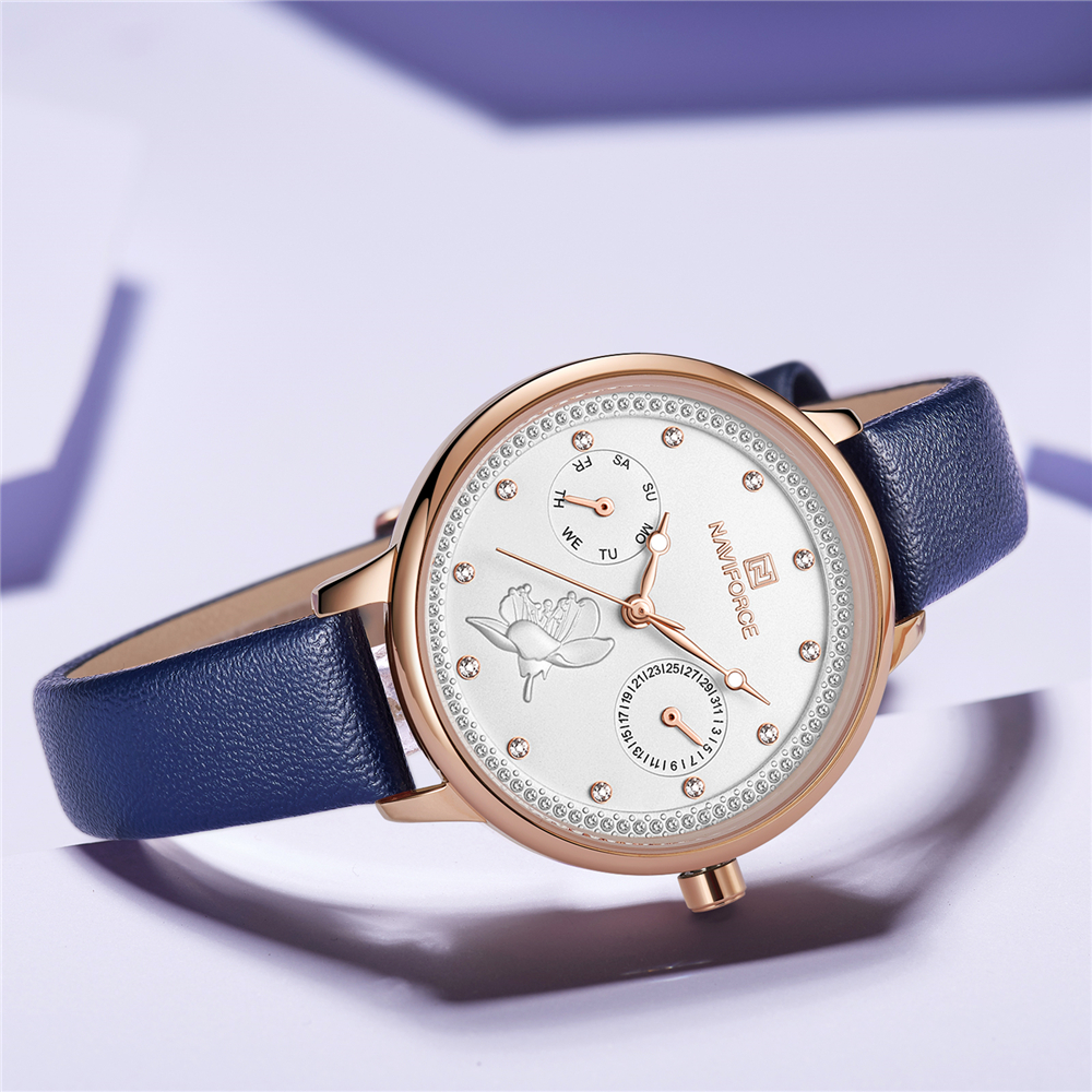 NAVIFORCE Women Watch Fashion Quartz Lady Leather Watchband Date Week Casual Waterproof Wristwatch Gift For Girl 2019 New Blue