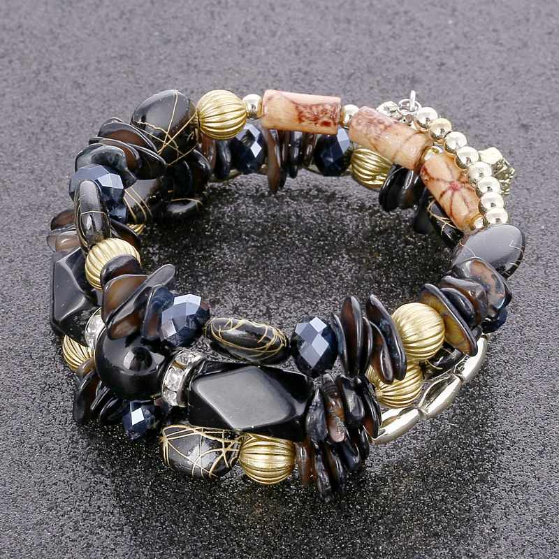 אופנה רב שכבתי צמיד סט טבעי אבן חרוזים קריסטל טאסל צמידים & צמידי Pulseras Mujer תכשיטים לנשים מתנה
