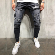 DIAOOAID 2018 New Fashion Mens Skinny black Ripped Slim fit Stretch Denim Biker Jeans male Embroidered
