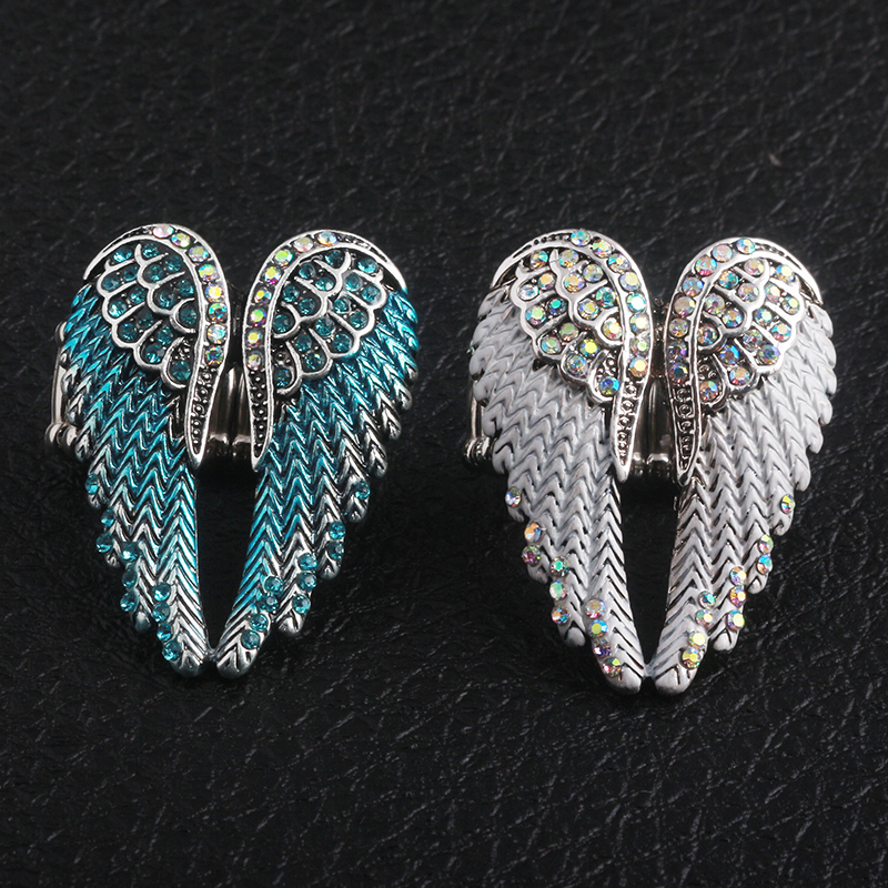 SG New High Quality Metal ring Fashion Jewelry 2 Color Angel Wings Adjustable Ring with Crystal for Beautiful Womens Gift