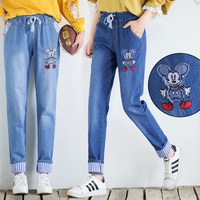 2019 Cute Cartoon Mickey Mouse Women Jeans Elastic Band Denim Trousers Women Fashion Cotton Wide Cuffed Denim Pencil Pants