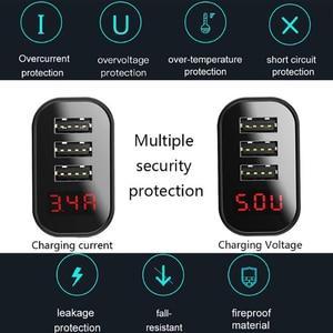 Image 3 - Baseus 3 Ports USB Ladegerät Schnell Lade 3,4 EINE Wand Ladegerät EU Stecker Mit Digital Display Reise Schnelle Ladegerät Für samsung Huawei