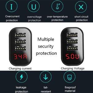Image 3 - Baseus cargador USB 3.4A de pared con 3 puertos, cargador rápido de viaje con pantalla Digital, enchufe europeo, para Samsung, Huawei