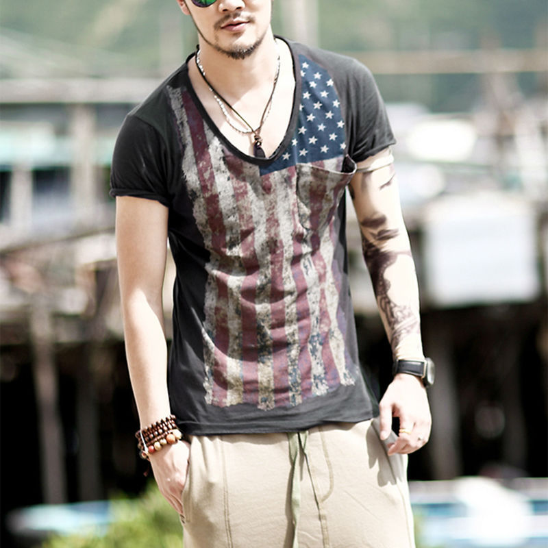 Online buy wholesale distressed t shirts from china for Men s v neck pocket tee shirts