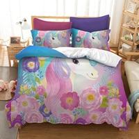 Cartoon Unicorn Print Beding Set Twin Full Queen King US AU EU 12 Size comforter bedding sets bed linen for girl Comforters