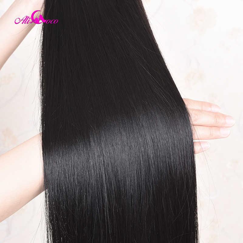 30 Cal 32 34 36 38 40 Cal wiązki ludzkich włosów z zamknięciem 7x7 prosto brazylijski włosy wyplata wiązki z zamknięcie koronki ali coco