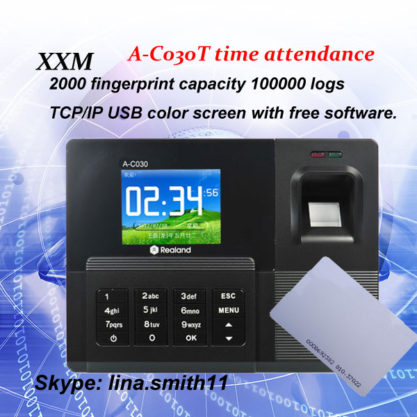 Free shipping standalone realand A-C030T TCP/IP fingerprint time attendance clock ID card work time clock free shipping tcp ip fingerprint time attendance a c010t