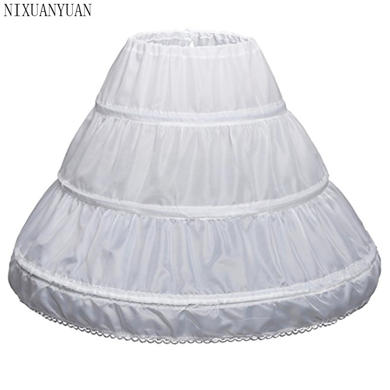 2020 Short Petticoat Girl Waist Adjust Evening Tutu 3 Layer 60 CM Length Lace Edge White Kids Underskirt Prom Accessories