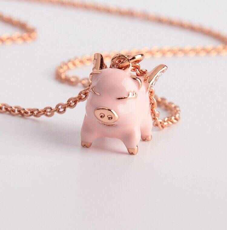 Высокое качество роскошные модные глянцевое покрытие прекрасный свинья серьги гвоздики цепочки и ожерелья украшения для вечерние