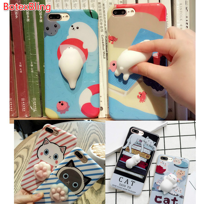 BotexBling Cute 3D Dolphin Kitty lucky Cat Claw Soft Edge IMD Silicone <font><b>case</b></font> for <font><b>iphone</b></font> 8 <font><b>8plus</b></font> 7 7plus 6 6s plus 6plus gel cover