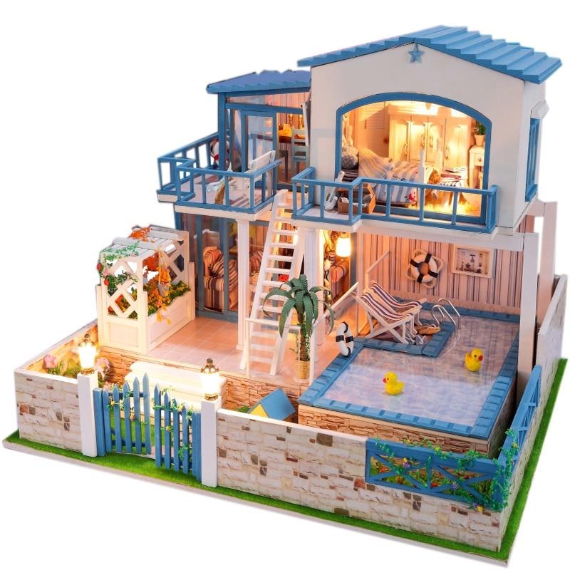 13829 large diy wooden dollhouse miniature villa big doll