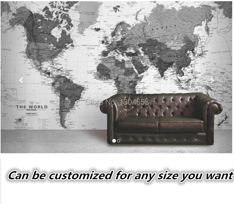 Free shipping to customize 3D Black and White Detailed Map Mural wallpaper bedroom television sofa background wall wallpaper куртка nike squad14 sideline knit jacket ss14