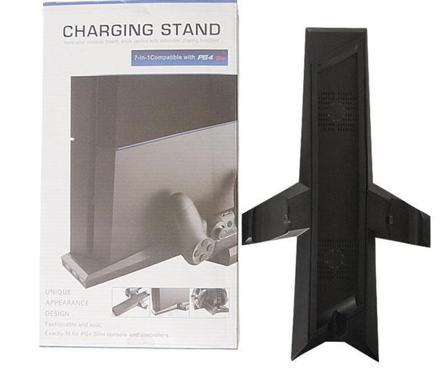7 in 1 Cooling fan 2 cooler fans Stand Holder+Charging Station 2 Charger ports+3 Ports USB Hub for PS4 Slim Playstation 4 Slim