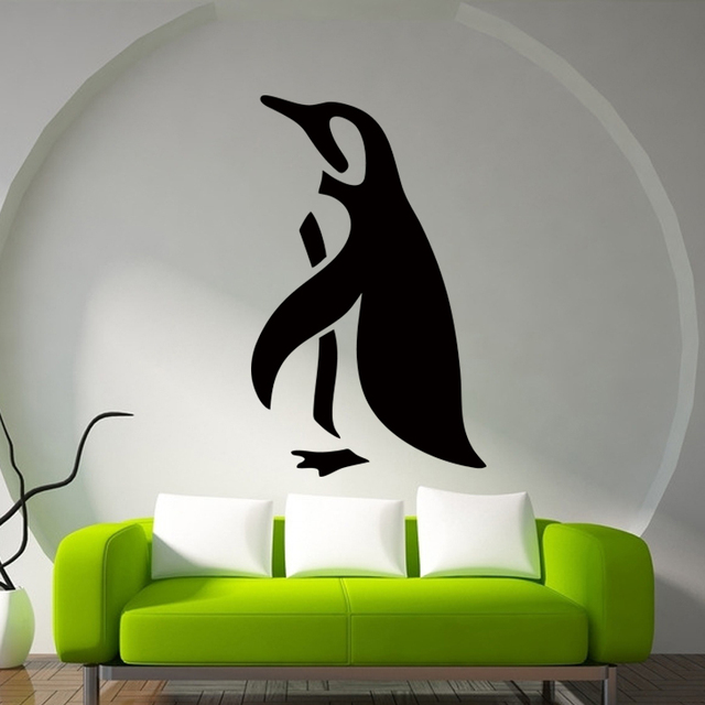 Penguin Simple Silhouette Under The Sea Wall Stickers Bathroom Decor Art  Decals Home Room Creative Wedding