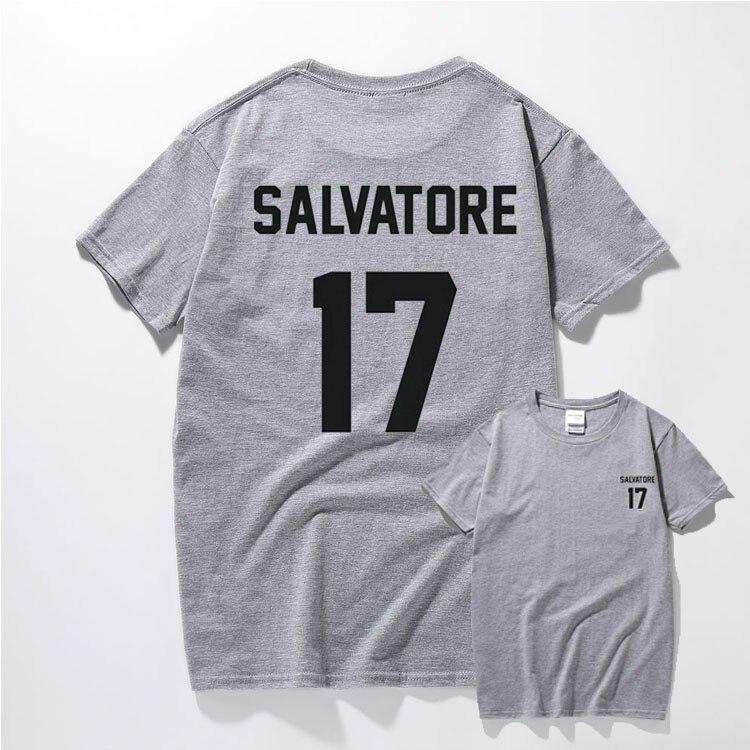 Повседневное Salvatore 17 футболка год рождения вампира Дневники Mystic Falls Топы Графи ...